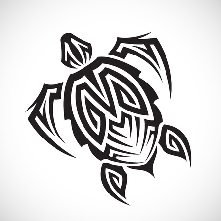 ancient turtles: Turtle in a tribal on a white background.