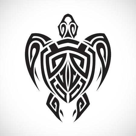 흰색 배경에 부족에서 거북이. 스톡 콘텐츠 - 59781101