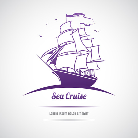 Label with sailing. Sea cruise.