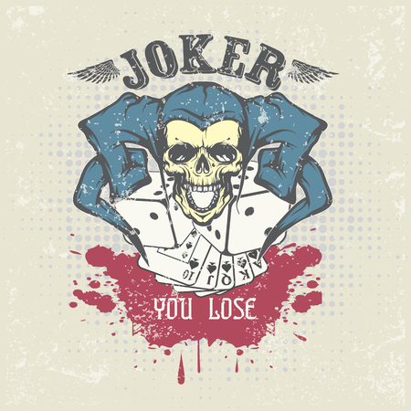 Joker card. Emblem casino. Illustration