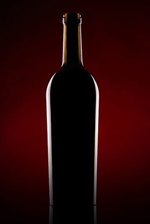 Silhouette of a beer bottle against a dark background photo