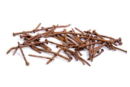 rusty nail: clavos oxidados Foto de archivo