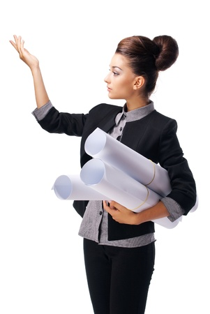 Beautiful businesswoman holding a drawing showing a hand up. Isolated on white background. photo