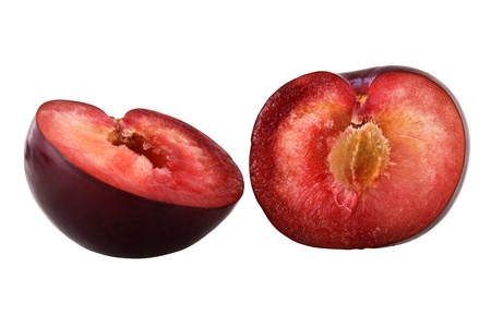 consume: blue plum cut to consume isolated on a white background