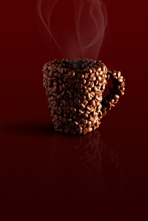 mug in the coffee beans with steam on a red background photo