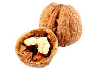 kernels: Walnut isolated on white background Stock Photo