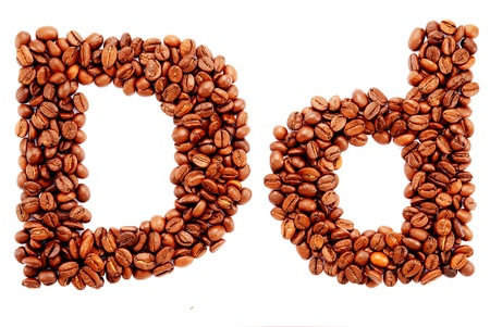 large bean: Coffee alphabet isolated on a white background