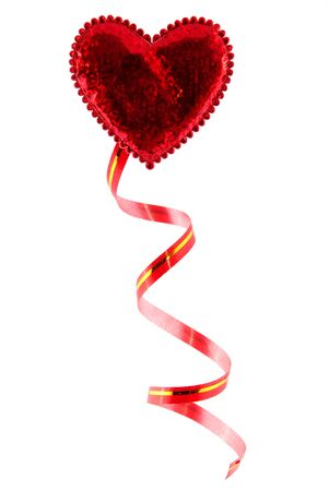 hanging woman: red heart isolated on white background