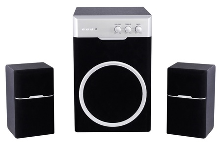 audio speakers isolated on white background photo