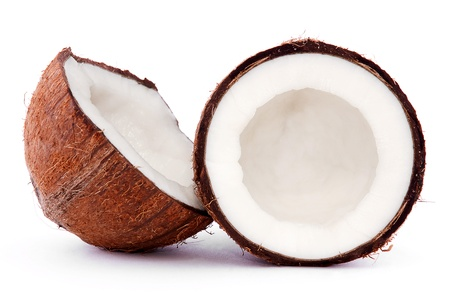 nut shell: broken coconut isolated on a white background