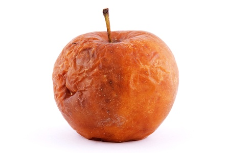 rancid: rotten apple isolated on a white background