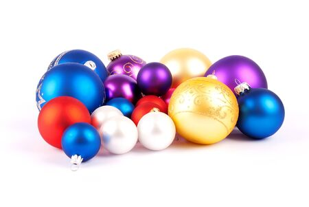 Multi-colored Christmas balls isolated on a white background Stock Photo - 10398571