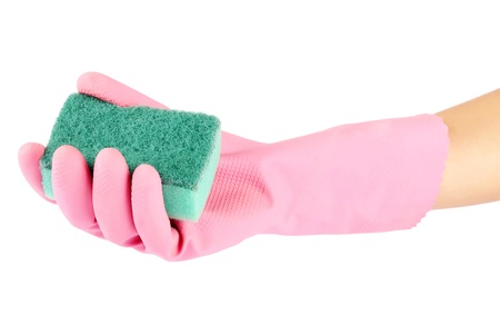 Hand in rubber glove holding a kitchen sponge isolated on a white background photo