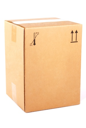 Cardboard Box isolated on a white background photo