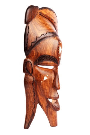 africa antique: Wooden mask isolated on a white backgroun