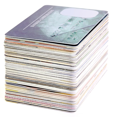 A stack of credit cards photo