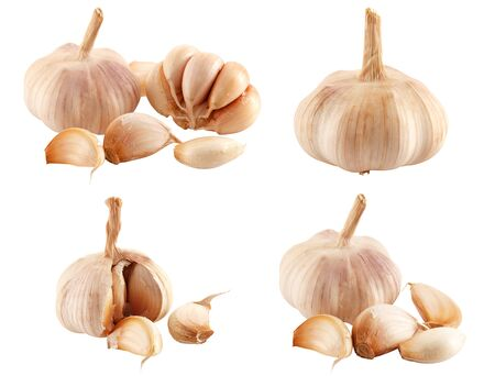 garlic clove: garlic in a variety of different ways isolated on a white background