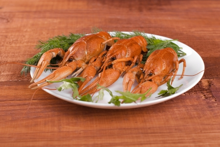 fluvial: Plate with crayfish on a wooden table  Stock Photo