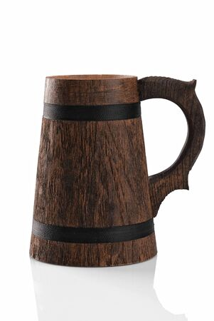 mug of ale: Wooden beer mug isolated on a white background  File contains path to cut  Stock Photo