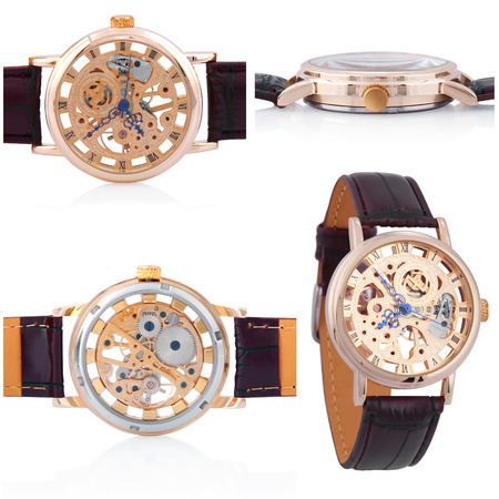 gold watch: collage of watches mechanical watches for men on a white background Stock Photo