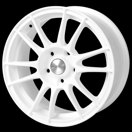 White car alloy wheel on a black background Banco de Imagens