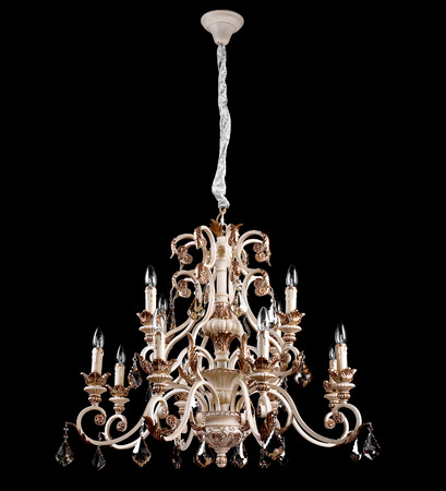 crystal chandelier: Chandelier on a black background Stock Photo