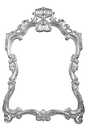 Silver vintage frame isolated on white background Banco de Imagens