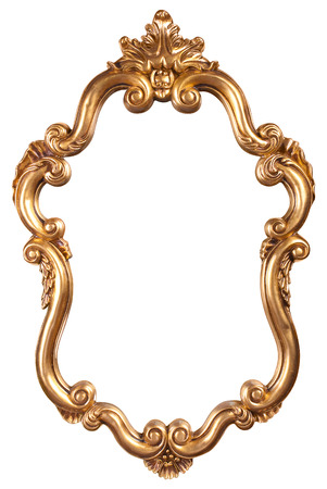 espejo: oro marco de la vendimia Foto de archivo