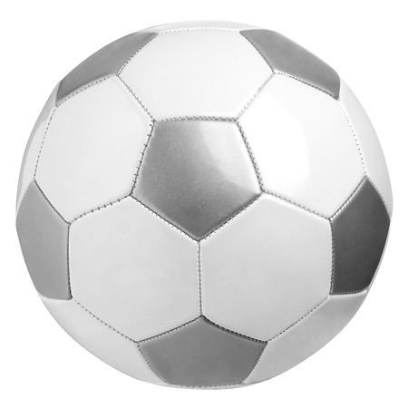 Leather soccer ball isolated on white with clipping path
