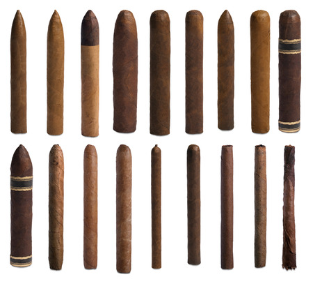 Collection of cigars isolated on white background