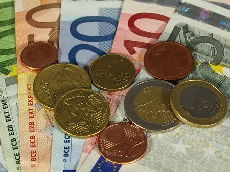 valuta: Euro currency, notes and coins