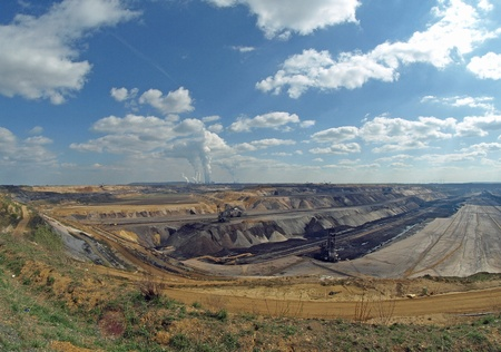 Wide angle view into an open pit photo