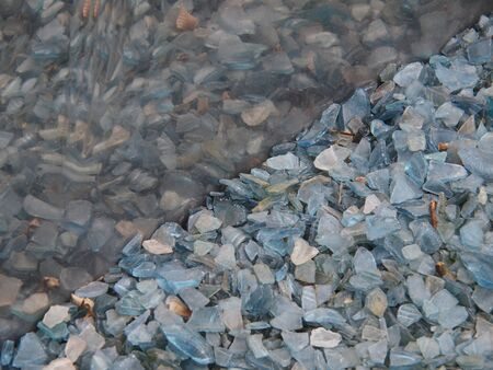 Floor covered with pieces of broken glass and reflection photo