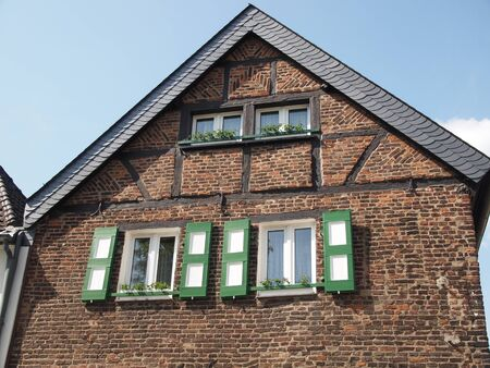 Ancient half-timbered construction facade photo