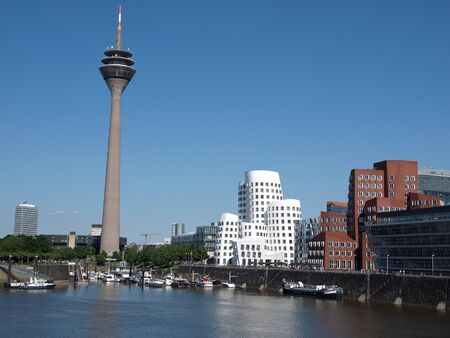 Cityscape of the media harbor Dusseldorf in Germany Editorial