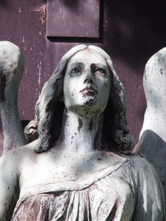 Face of an angel statue on a graveyard