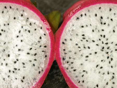 Opened pitahaya, or also called dragonfruit