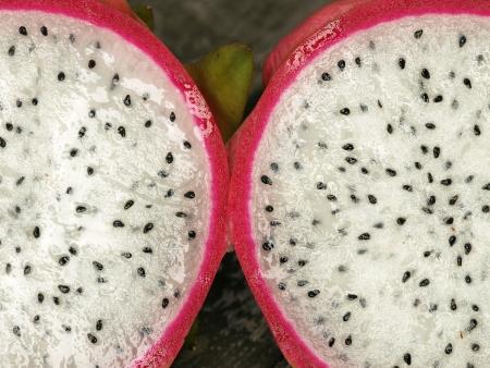 dragonfruit: Opened pitahaya, or also called dragonfruit Stock Photo
