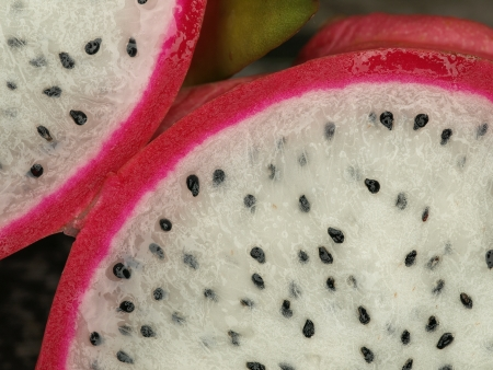 Opened pitahaya, or also called dragonfruit Stock Photo