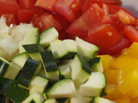 Some sliced ingredients for a meal out of vegetables