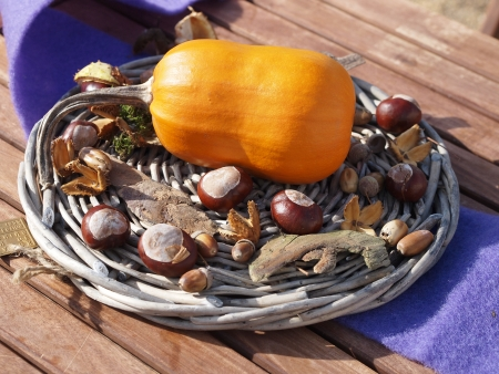 Nice autumn decoration on a wooden table Stock Photo