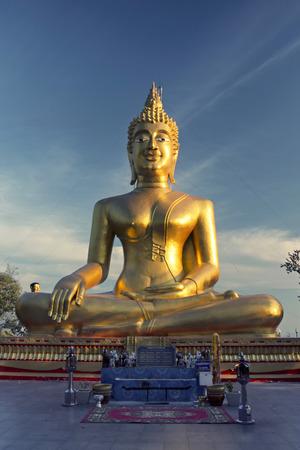 moksha: Sculpture of Golden Buddha on the Buddha Hill, Pattaya, Thailand Stock Photo