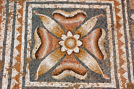 ピエリア、ギリシャ ・ ディオン palaestra で古代ギリシャ語 mocaic 写真素材
