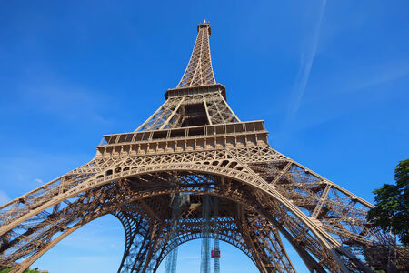directly below: Close-up view on Eiffels Tower, Paris, France