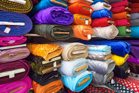 Rolls of textile, cloth and tissue of various colours on the market Stok Fotoğraf - 29274471