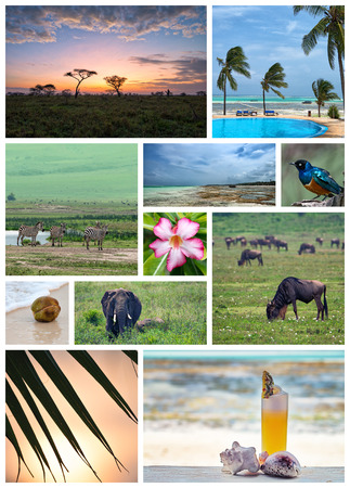 place of interest: Collage about Tanzania landmarks, nature and place of interest