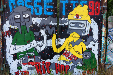 Colorful graffiti with fantstic figures and hip hop