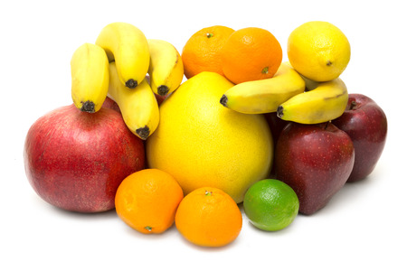 put together: Various fruits put together and isolated on white background Stock Photo