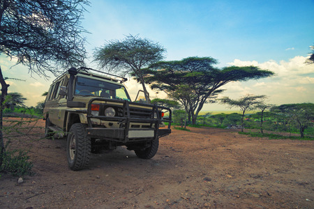 game drive: vehicle is ready to go for a game drive Stock Photo