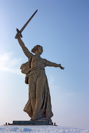 The monument dedicated the victory of battle for Stalingrad named Motherland calls